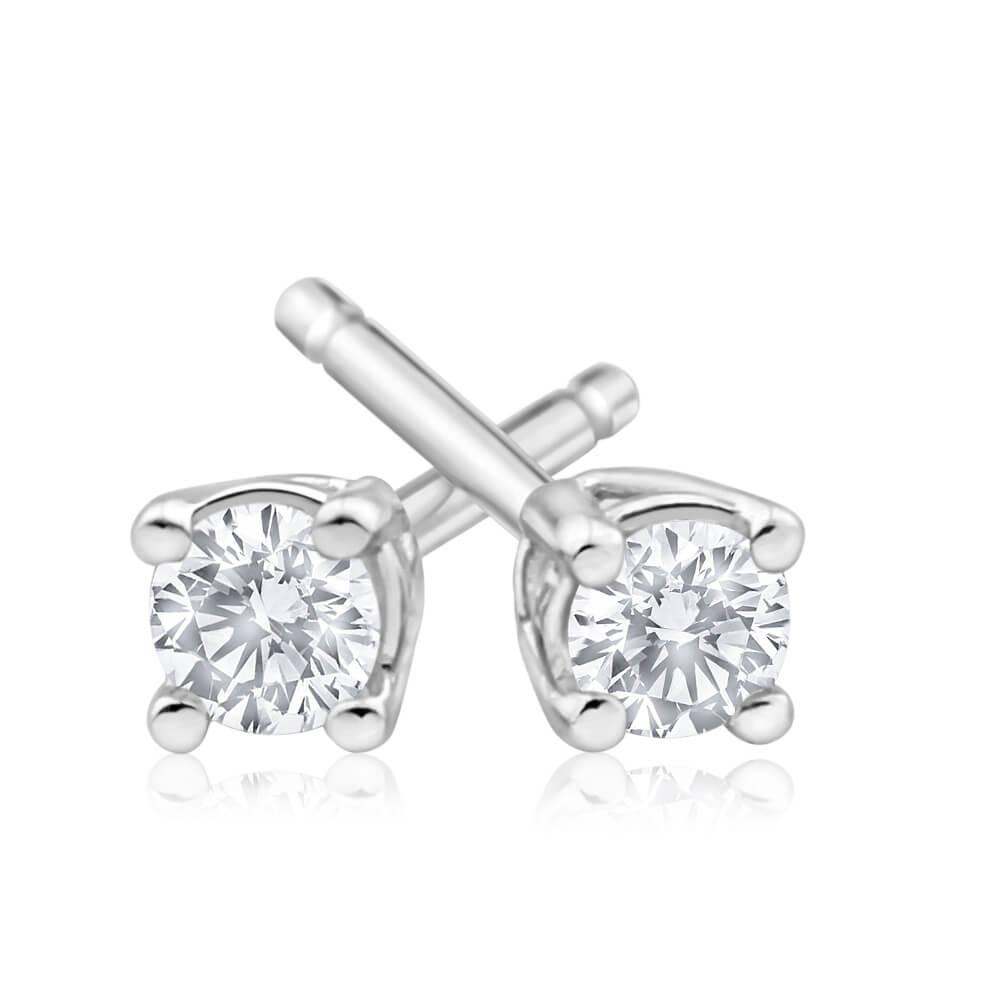 9ct White Gold Impressive Diamond Stud Earrings