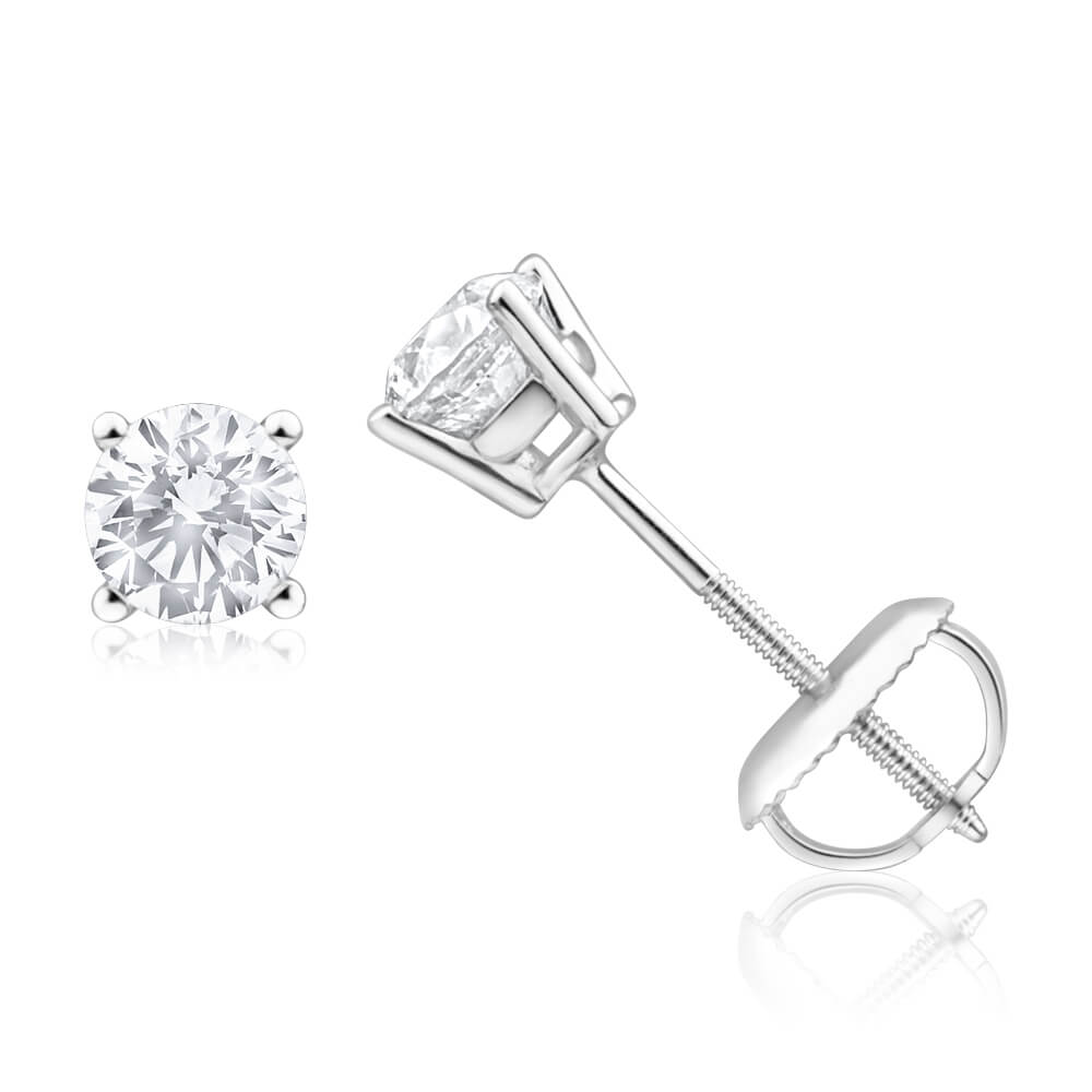 18ct White Gold Stud Earrings With 0.75 Carats Of Diamonds