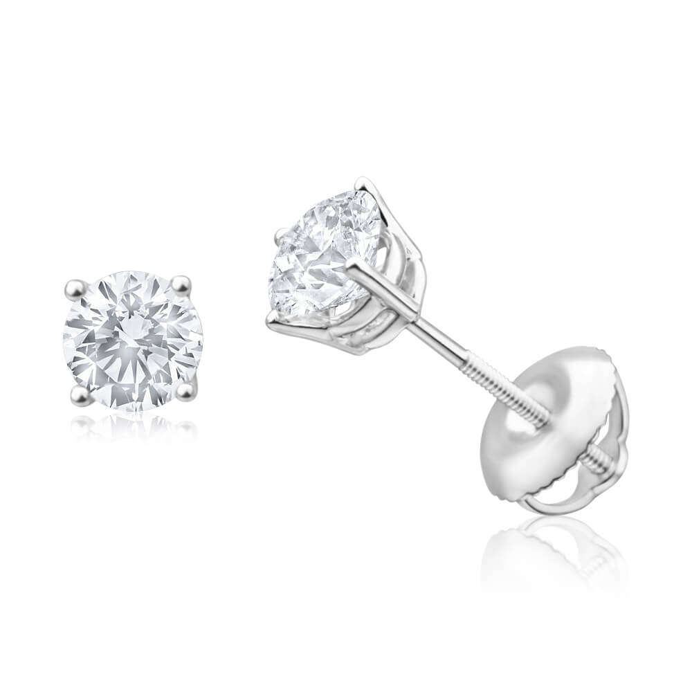 18ct White Gold Stud Earrings With 1 Carat Of Diamonds