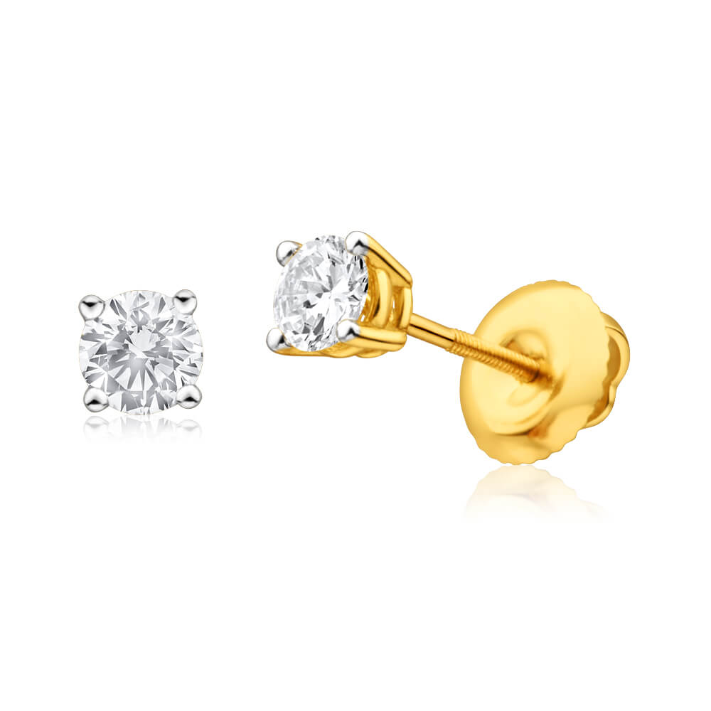 18ct Yellow Gold Screwback Stud Earrings With 0.5 Carats Of Diamonds