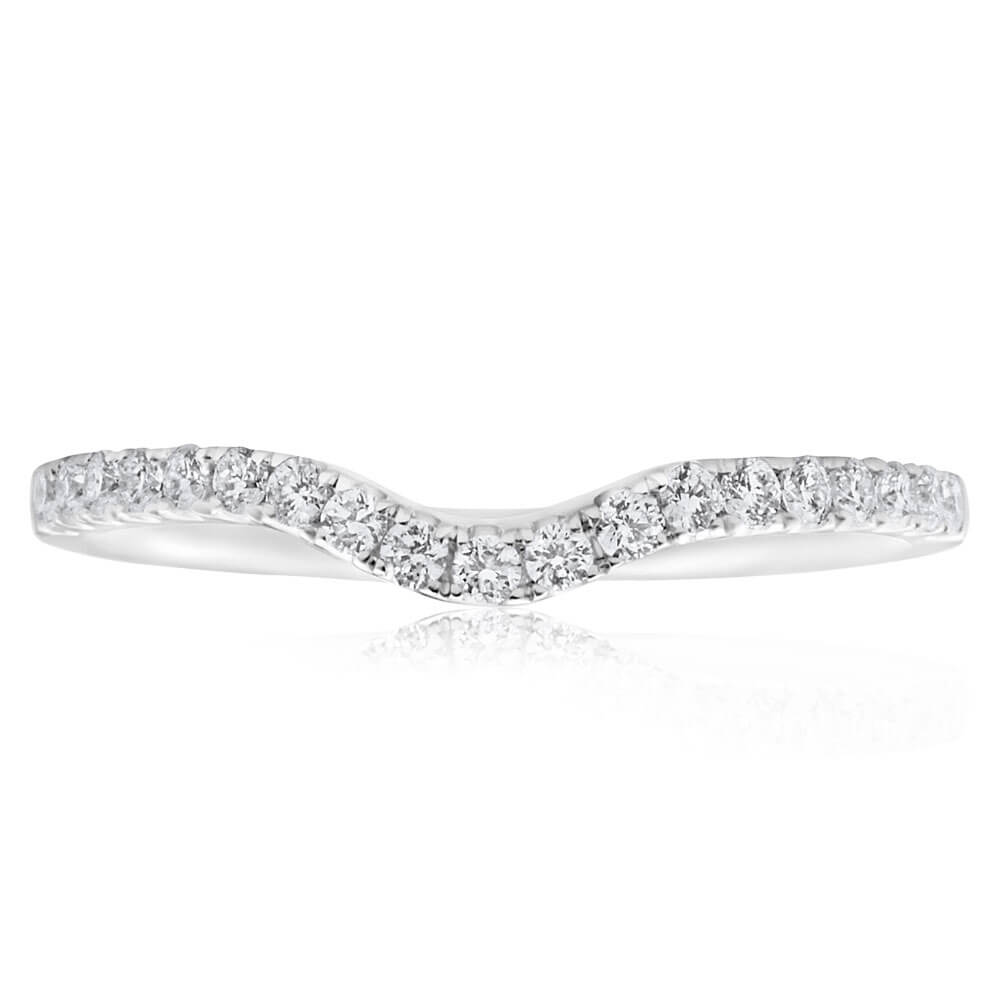 18ct White Gold 'Carina' Contour Ring With 0.2 Carats Of Diamonds