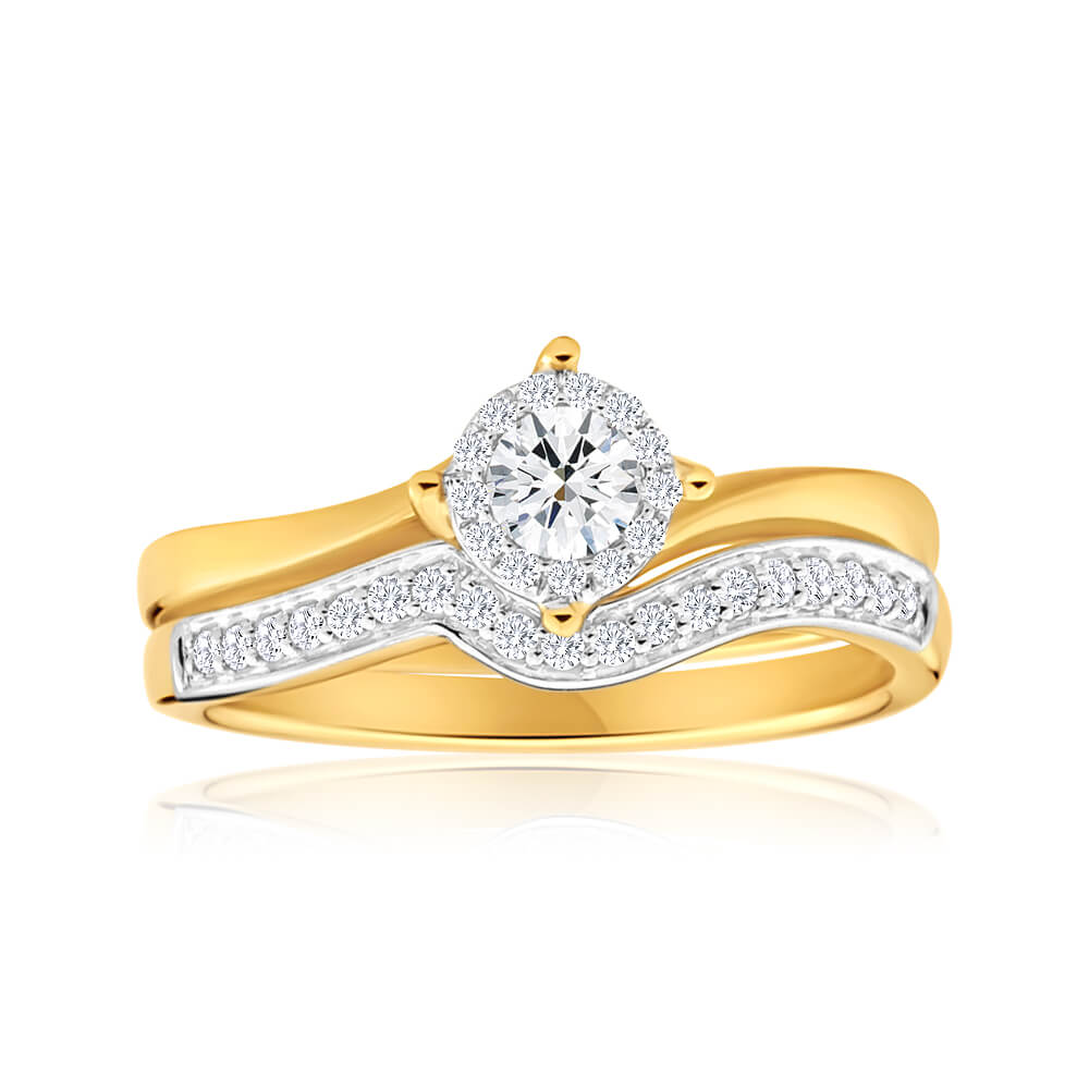 18ct Yellow Gold 2 Ring Bridal Set With 0.25 Carats Of Diamonds