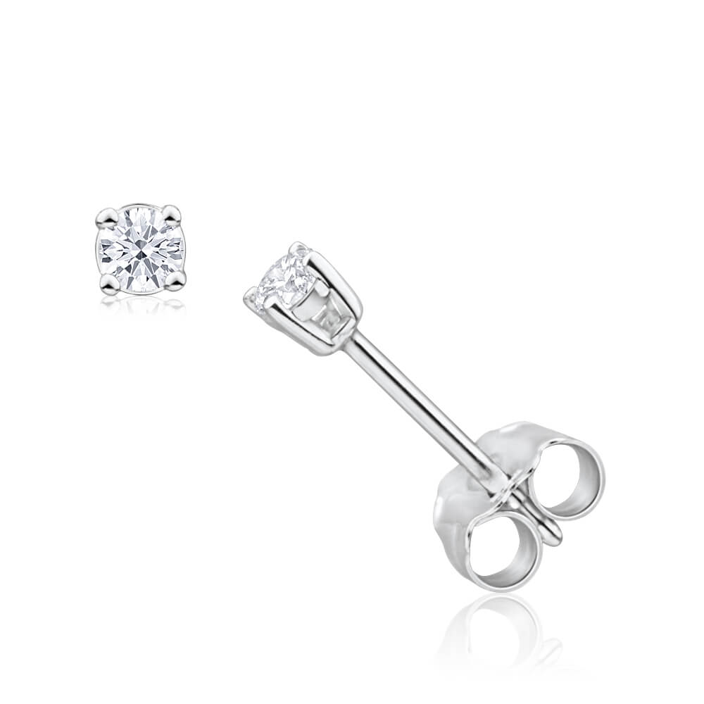 "9ct White Gold Diamond Stud ""Arabella"" Earrings"