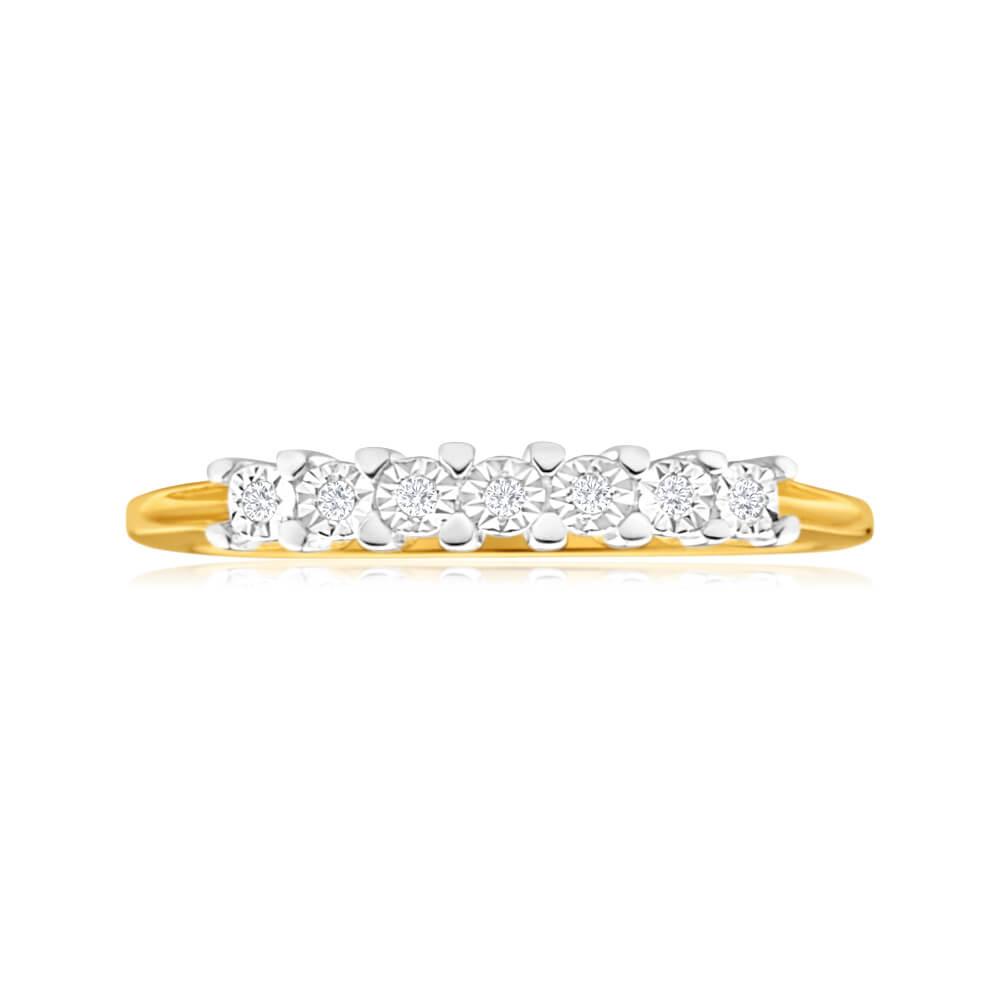 9ct Yellow Gold Diamond Ring Set With 7 Stunning Diamonds