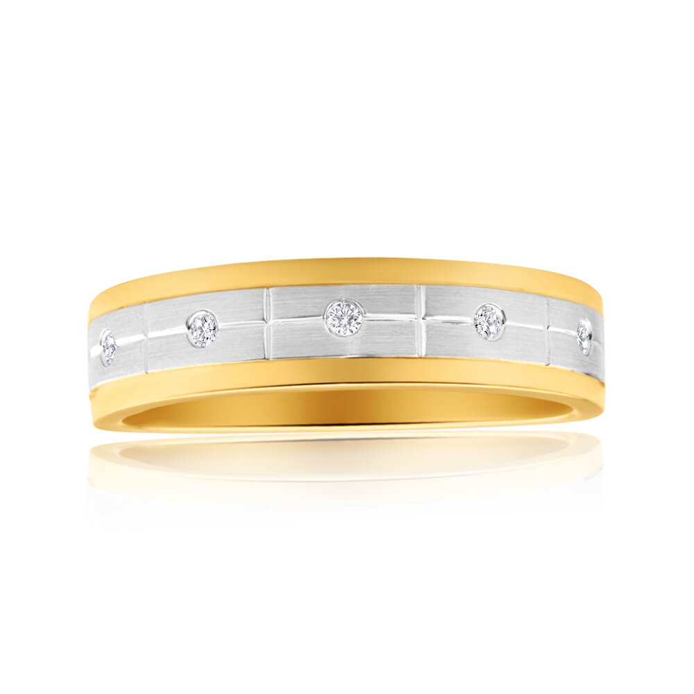 9ct Yellow Gold & White Gold Mens Ring With 0.05 Carats Of Diamonds