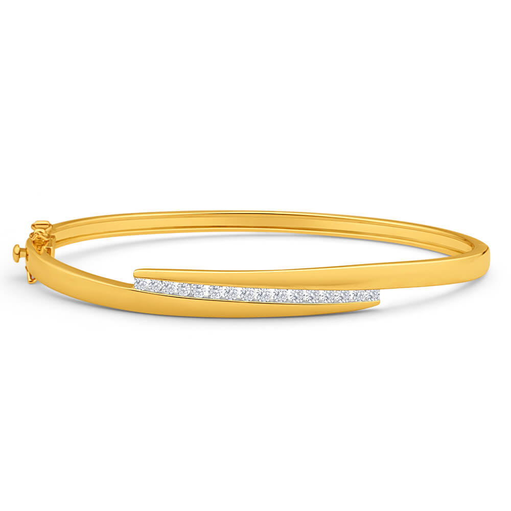 9ct Yellow Gold Magnificent 1/2 Carat Diamond Bangle