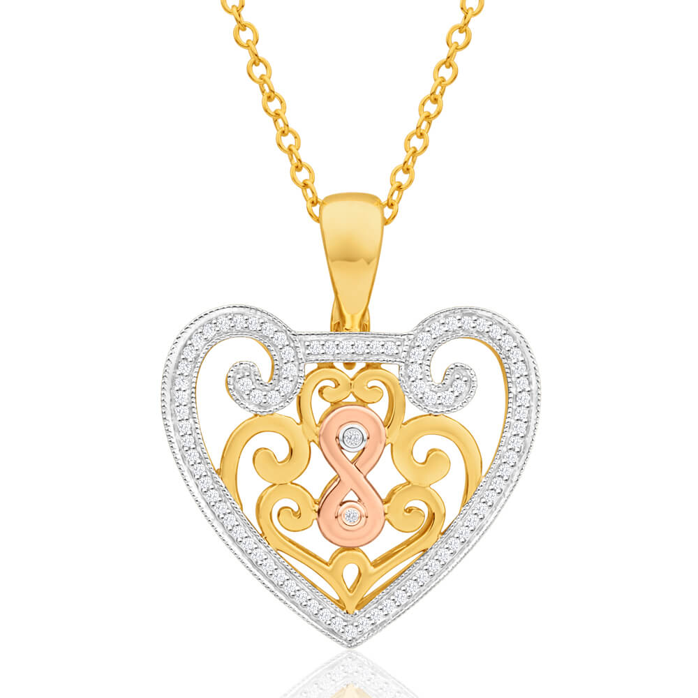 9ct Yellow Gold, White Gold & Rose Gold Diamond Pendant