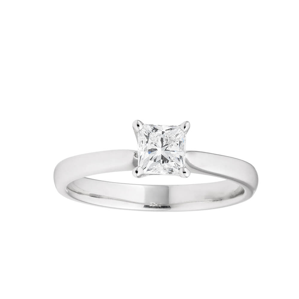18ct White Gold 'Leona' Solitaire Ring With 0.7 Carat Certified Diamond