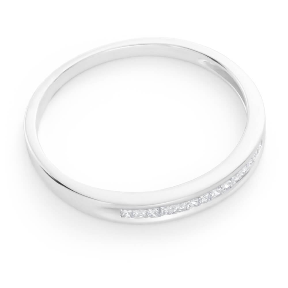 9ct White Gold Diamond Ring Set With 15 Princess Cut Diamonds