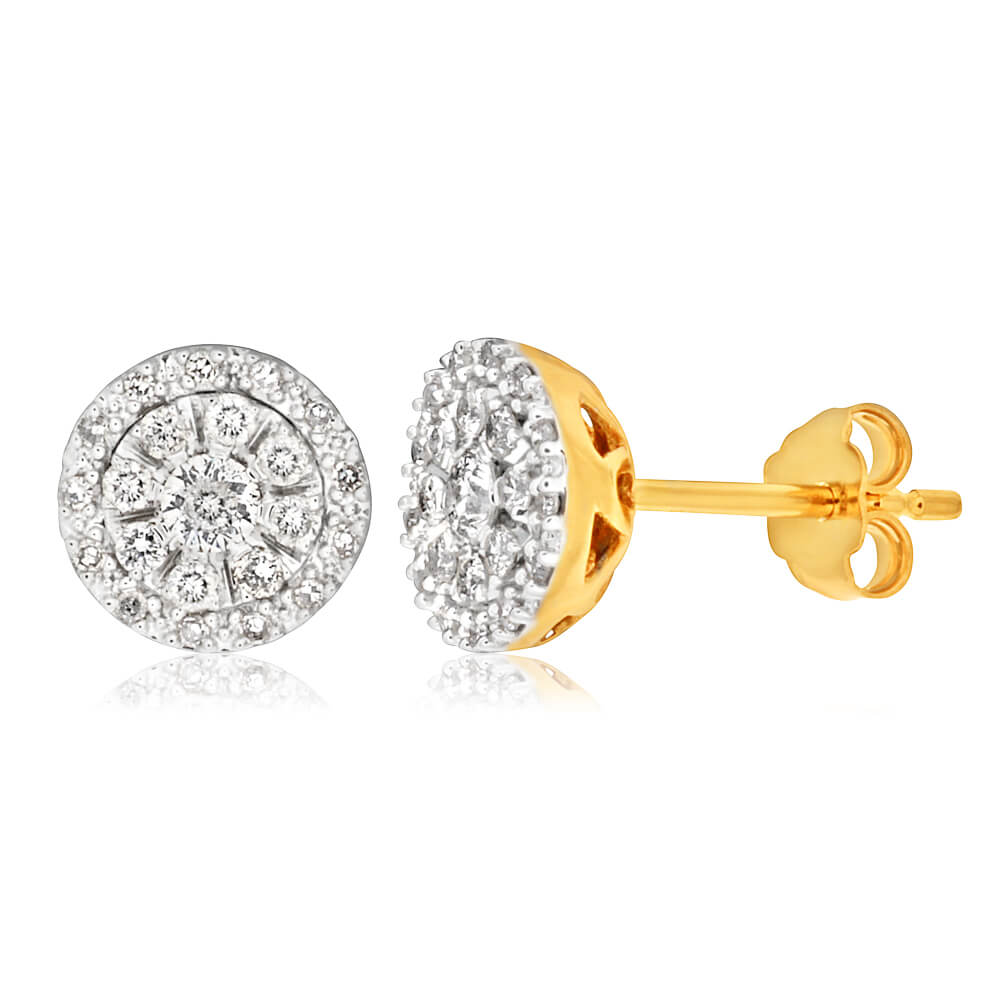 9ct Yellow Gold Brilliant Diamond Stud Earrings