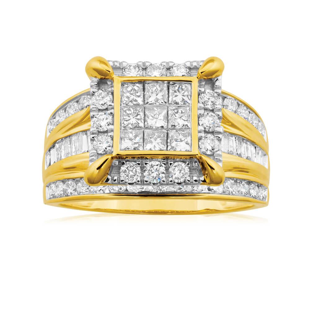 9ct Yellow Gold 2 Carat Diamond Ring Set with 73 Stunning Diamonds