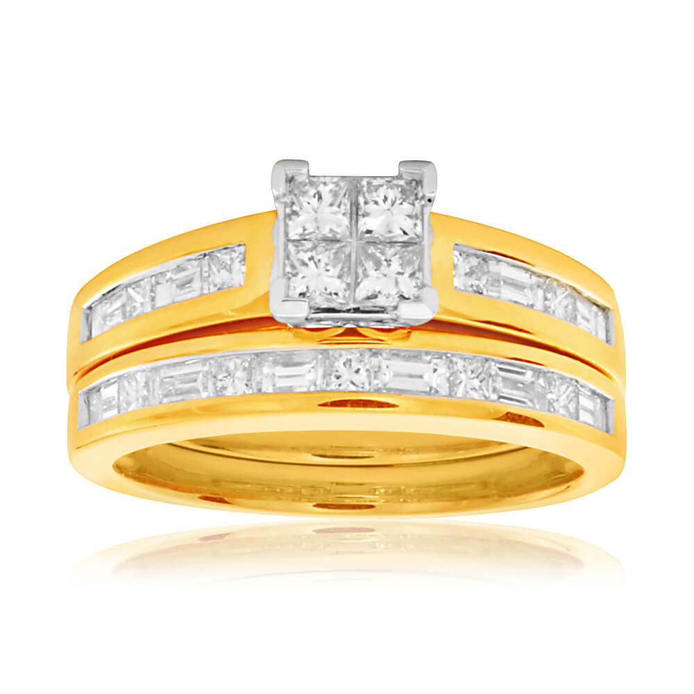 9ct Yellow Gold 2 Ring Bridal Set With 23 Diamonds Totalling 1 Carat