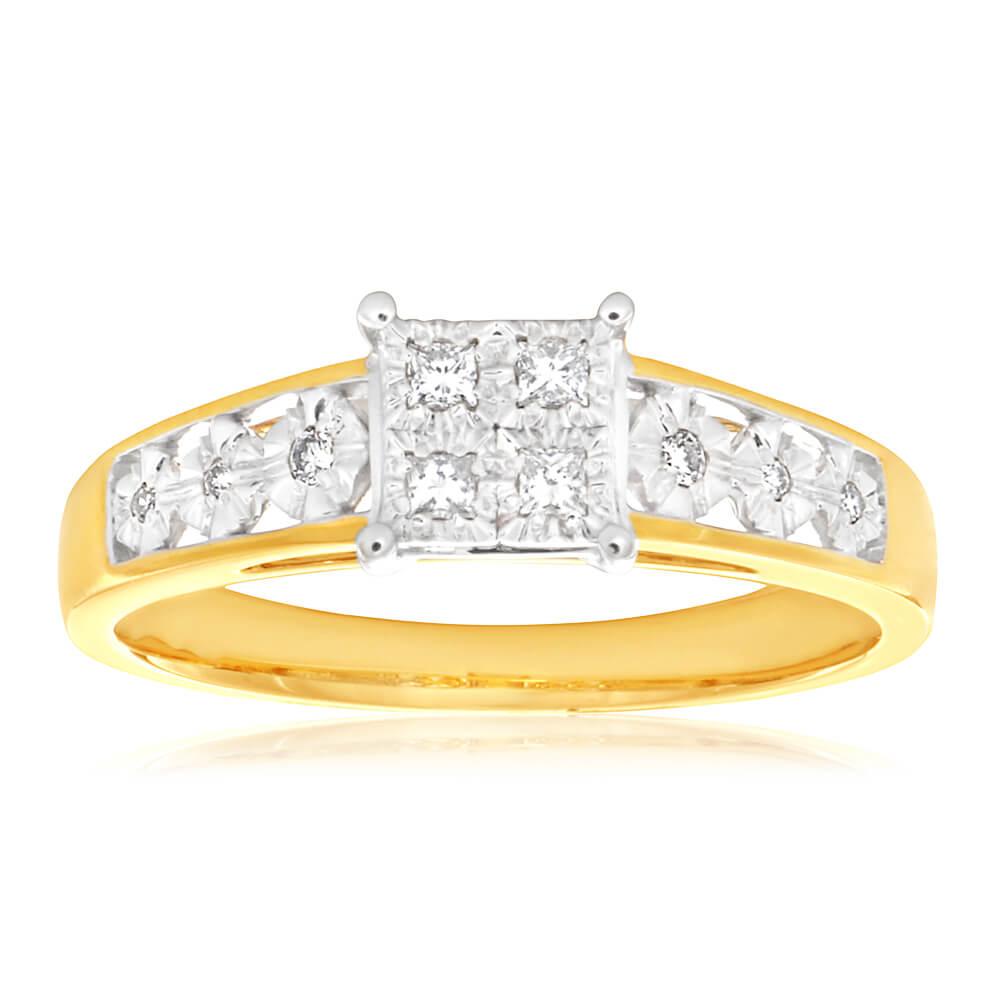9ct Yellow Gold Diamond Elegant Ring