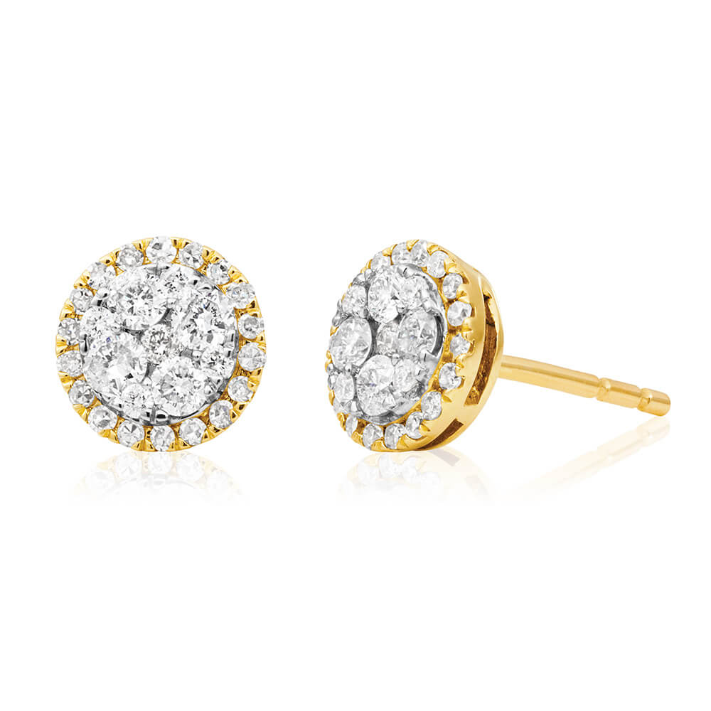 9ct Yellow Gold Cluster Diamond Stud Earrings