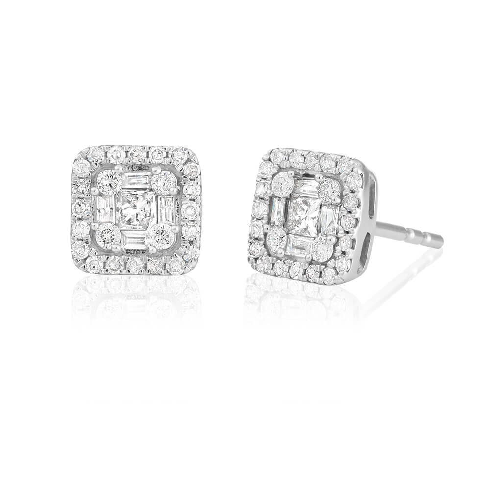 9ct White Gold  Exquisite Diamond Stud Earrings