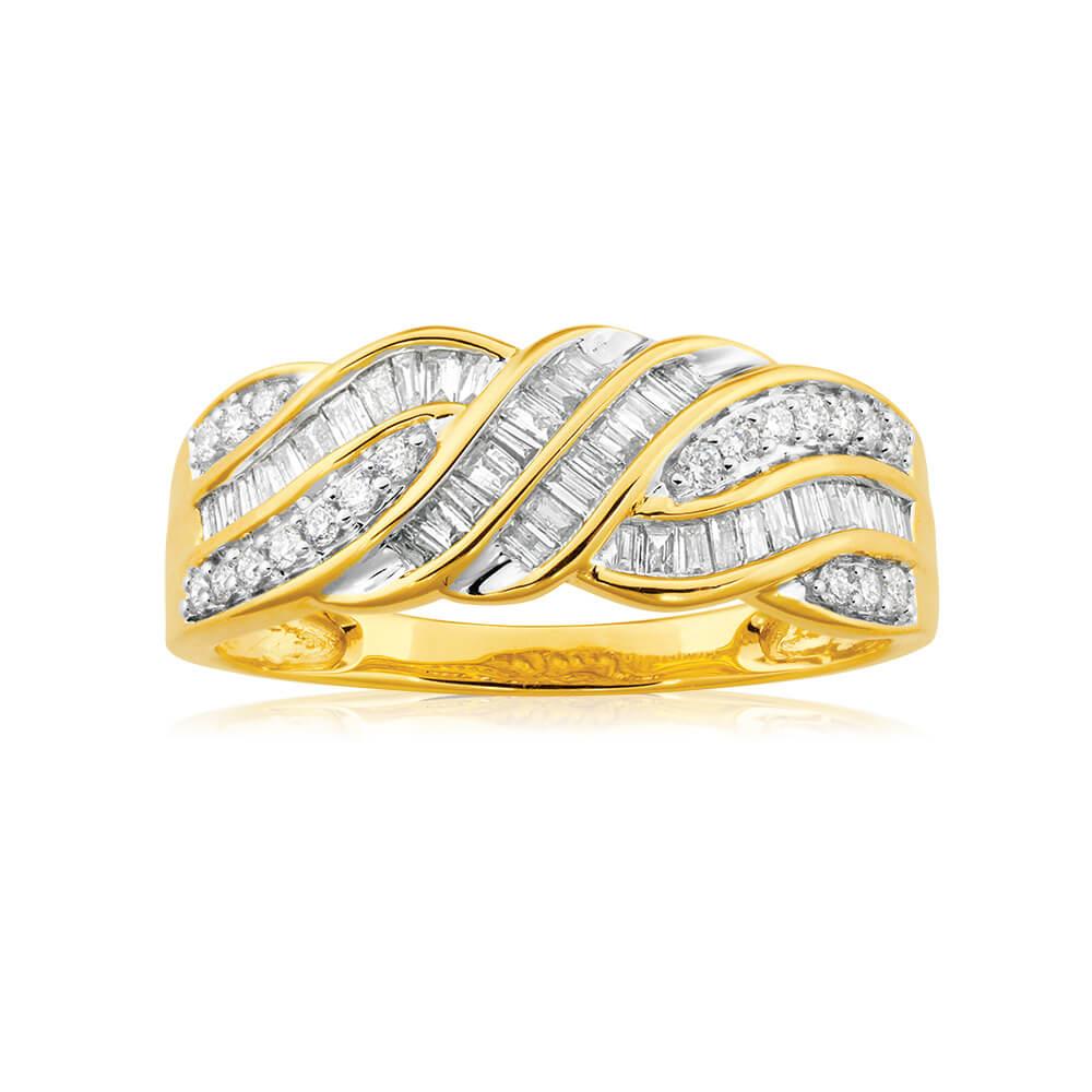 9ct Yellow Gold 1/2 Carat Diamond Ring Set With 20 Brilliant Diamonds