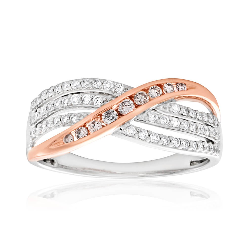"""Isla"" Pink Diamonds 18ct White Gold Ring with 1/3 Carat of Diamonds"