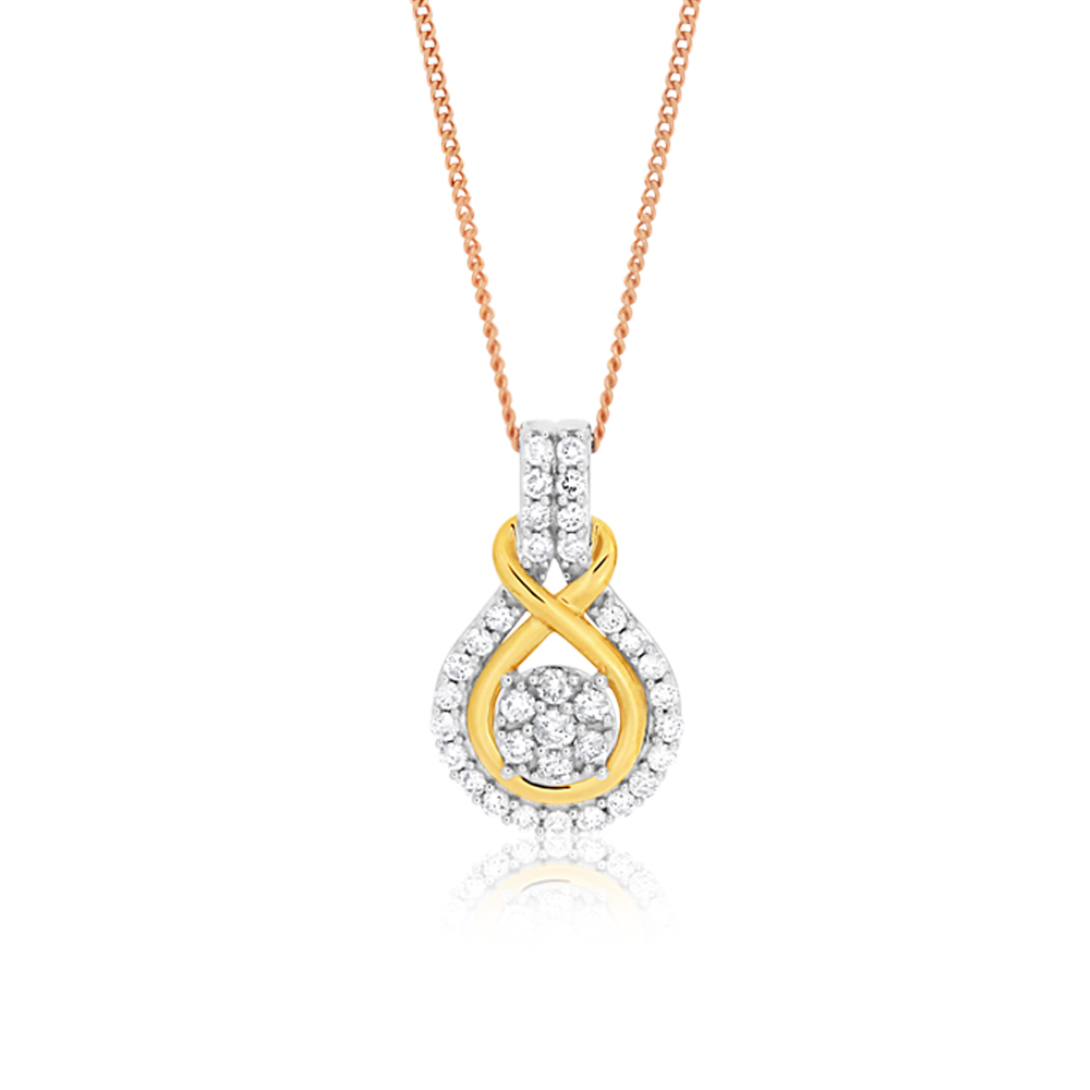 9ct Charming White Gold Diamond Pendant With 45cm Chain