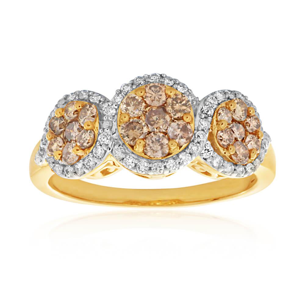 Australian Diamond 9ct Yellow Gold Diamond Trilogy Ring (TW=1CT)