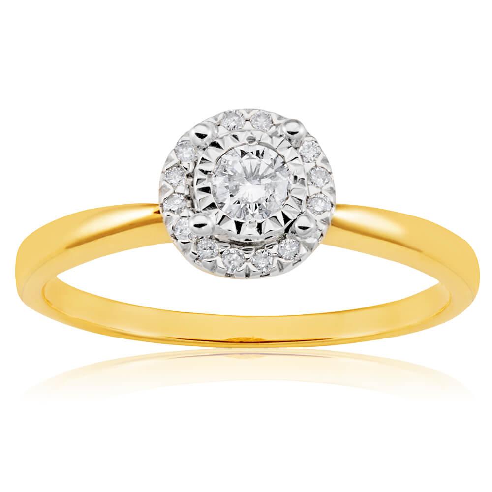 1/4 Carat Diamond Ring in 9ct Yellow Gold