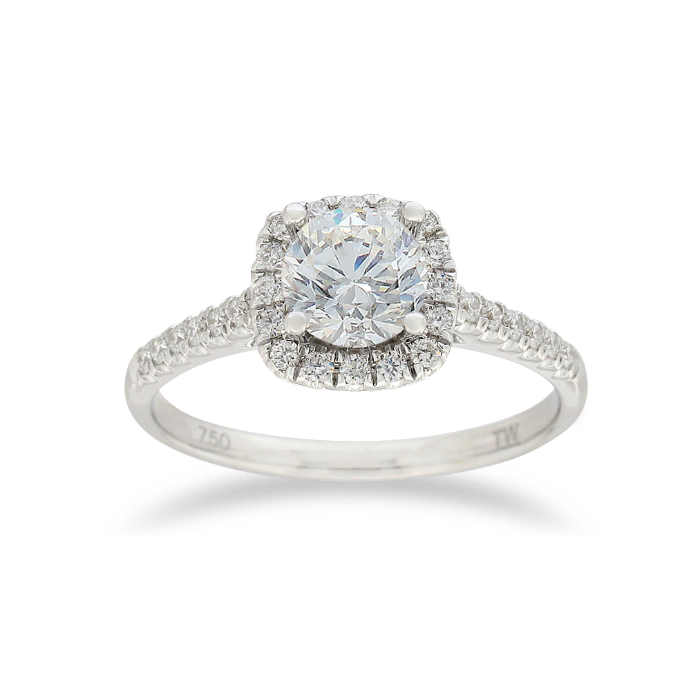18ct White Gold 1.00 Carat Diamond Halo Ring with 3/4 Carat Certrified Centre Diamond