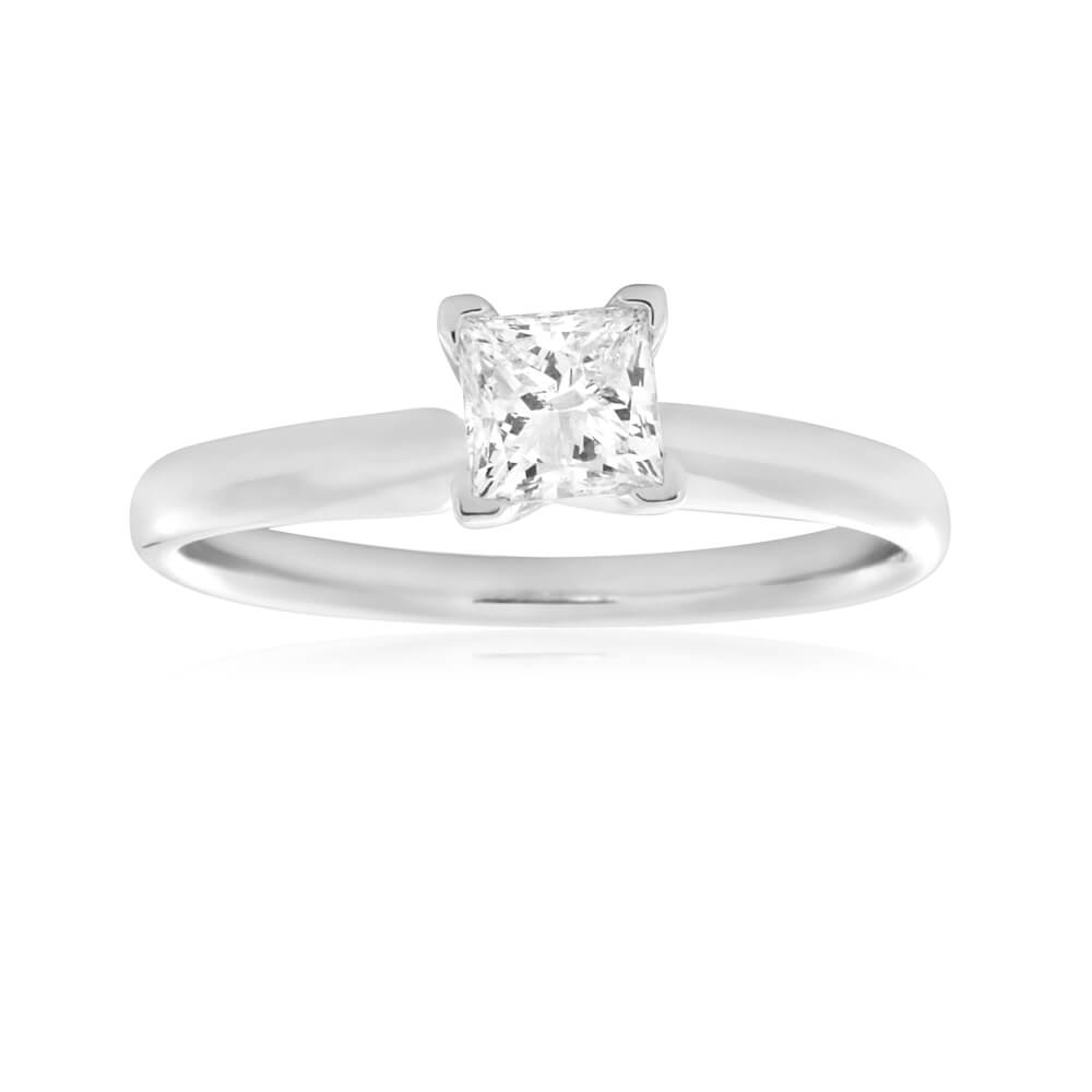 14ct White Gold Solitaire Ring With 50 Point Princess Cut Diamond