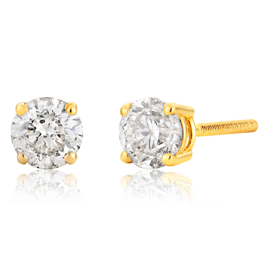 14ct Yellow Gold Diamond Stud Earrings with Approximately 0.50 Carat of Diamonds