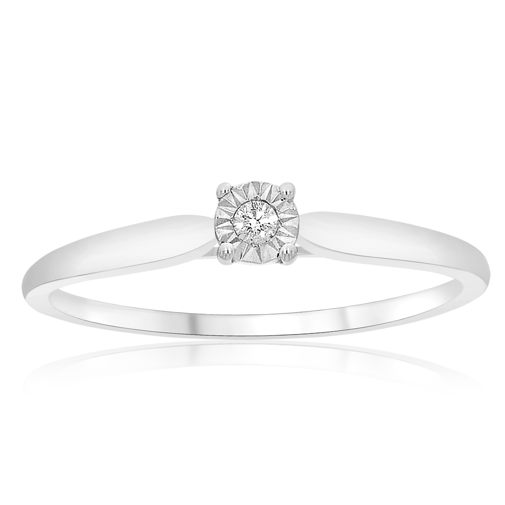 9ct White Gold Solitaire Ring With 0.01 Carat Claw Set Diamond