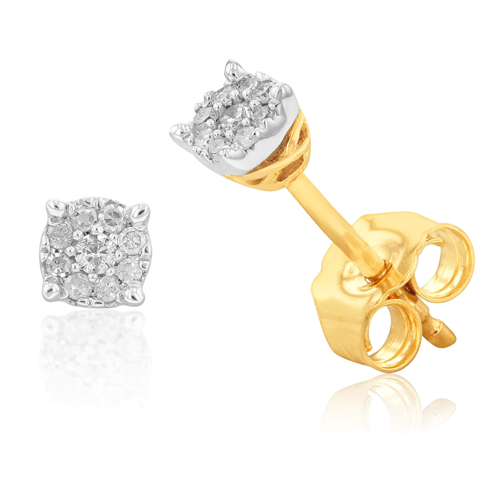 9ct Yellow Gold Majestic Diamond Stud Earrings and Infinity Detail on Side Profile