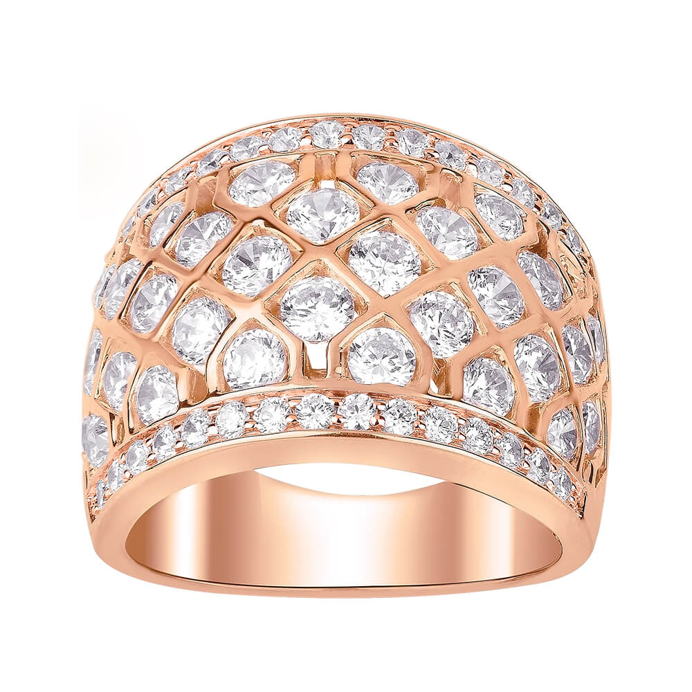 9ct Rose Gold Ring With 3 Carats Of Brilliant Cut Diamonds