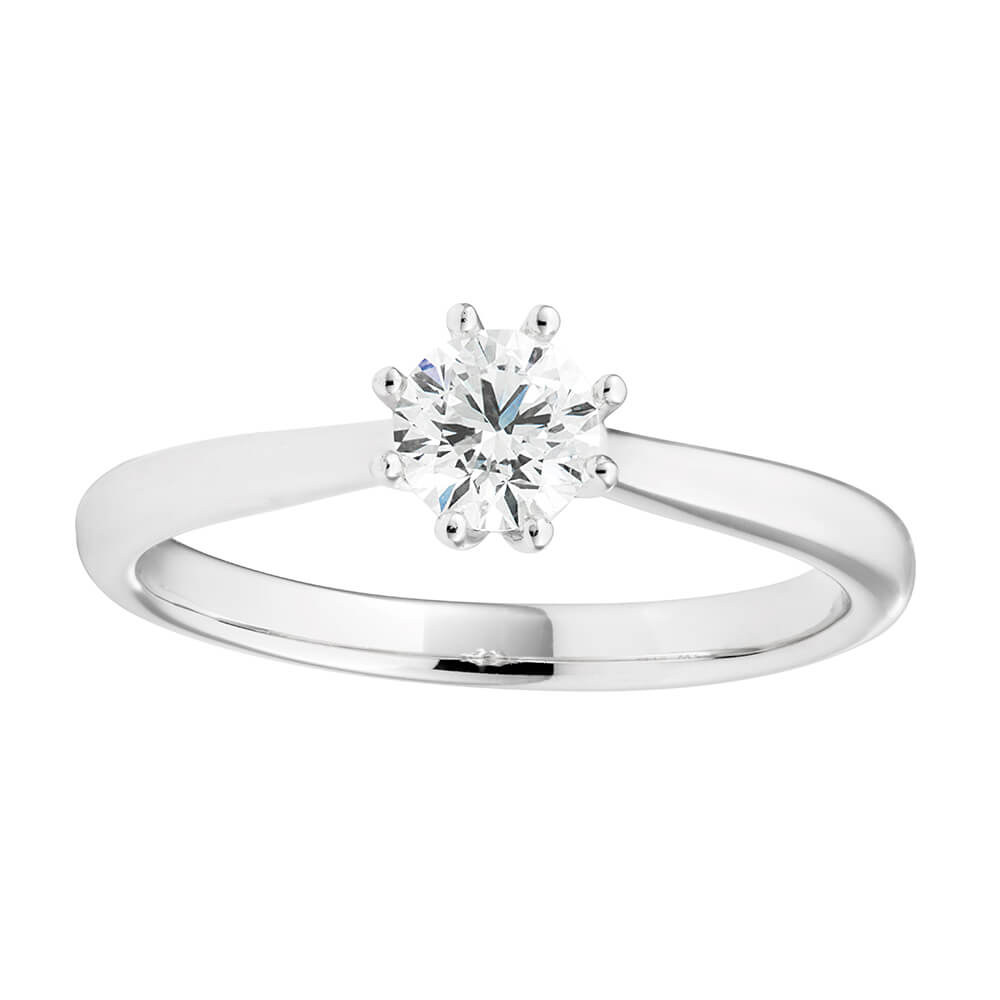 18ct White Gold Solitaire Ring With 0.5 Carat Certified 8 Claw Set Diamond