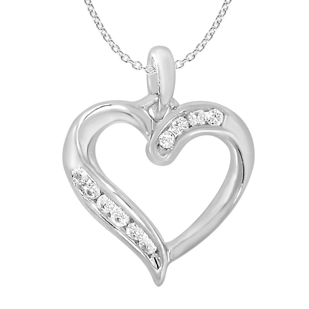 9ct Elegant White Gold Diamond Pendant With 45cm Chain