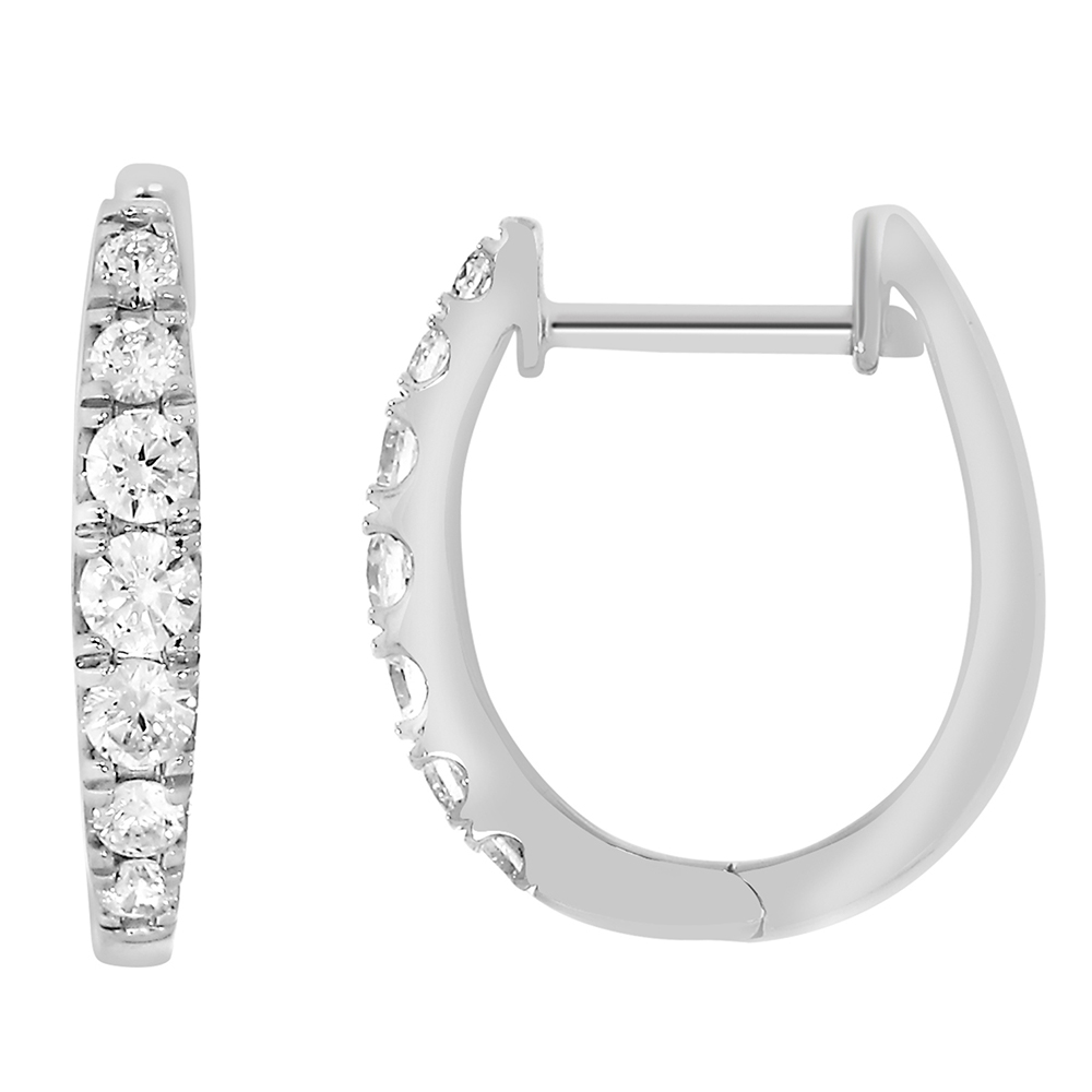 9ct White Gold 1/2 Carat Diamond Hoop Earrings with 14 Brilliant Diamonds