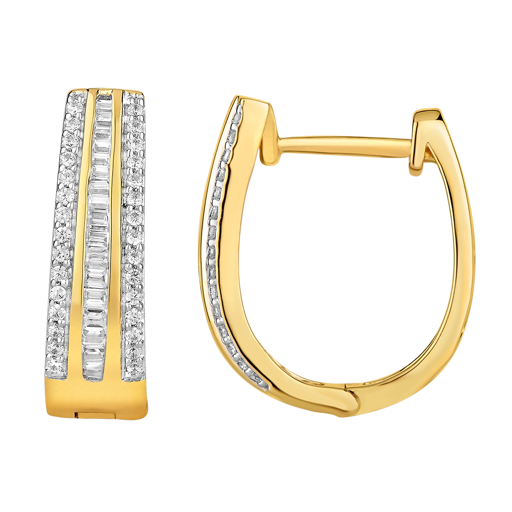 """Leni"" 9ct Yellow Gold Huggie Earrings with 1/2 Carat of Diamonds"