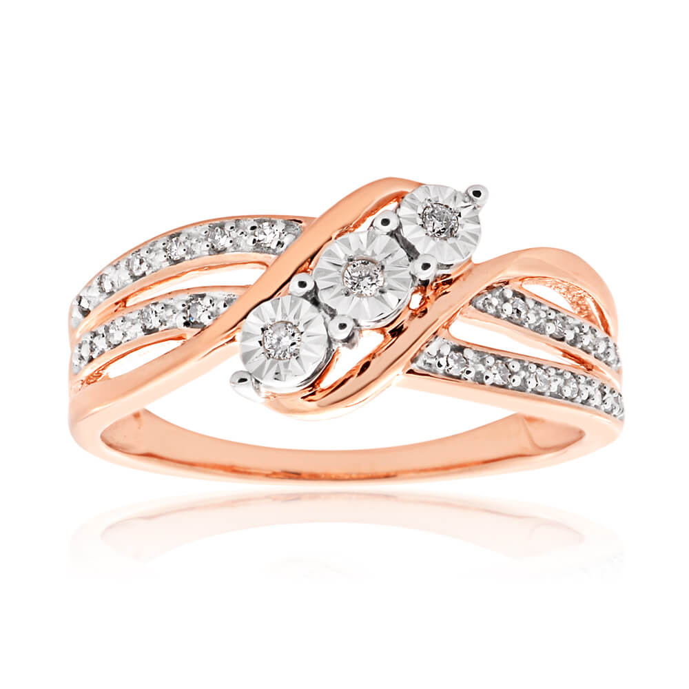 9ct Rose Gold Ring With 23 Brilliant Cut Diamonds