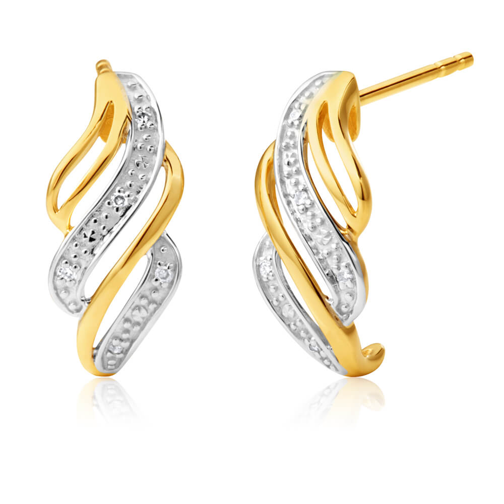9ct Yellow Gold Exquisite Diamond Earrings