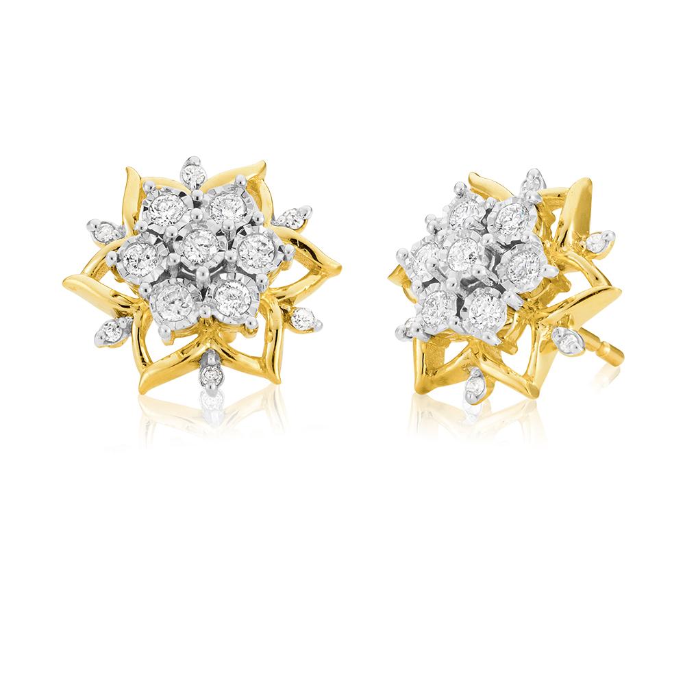 9ct Yellow Gold 1/3 Carat Diamond Stud Earrings set wtih 26 Brilliant Cut Diamonds