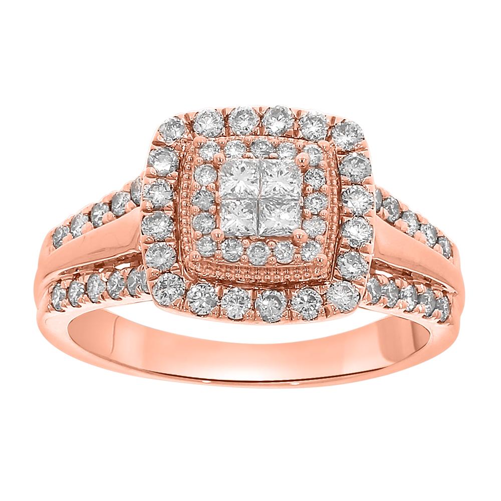 9ct Rose Gold 1 Carat Diamond Ring with Princess and Brilliant Diamonds