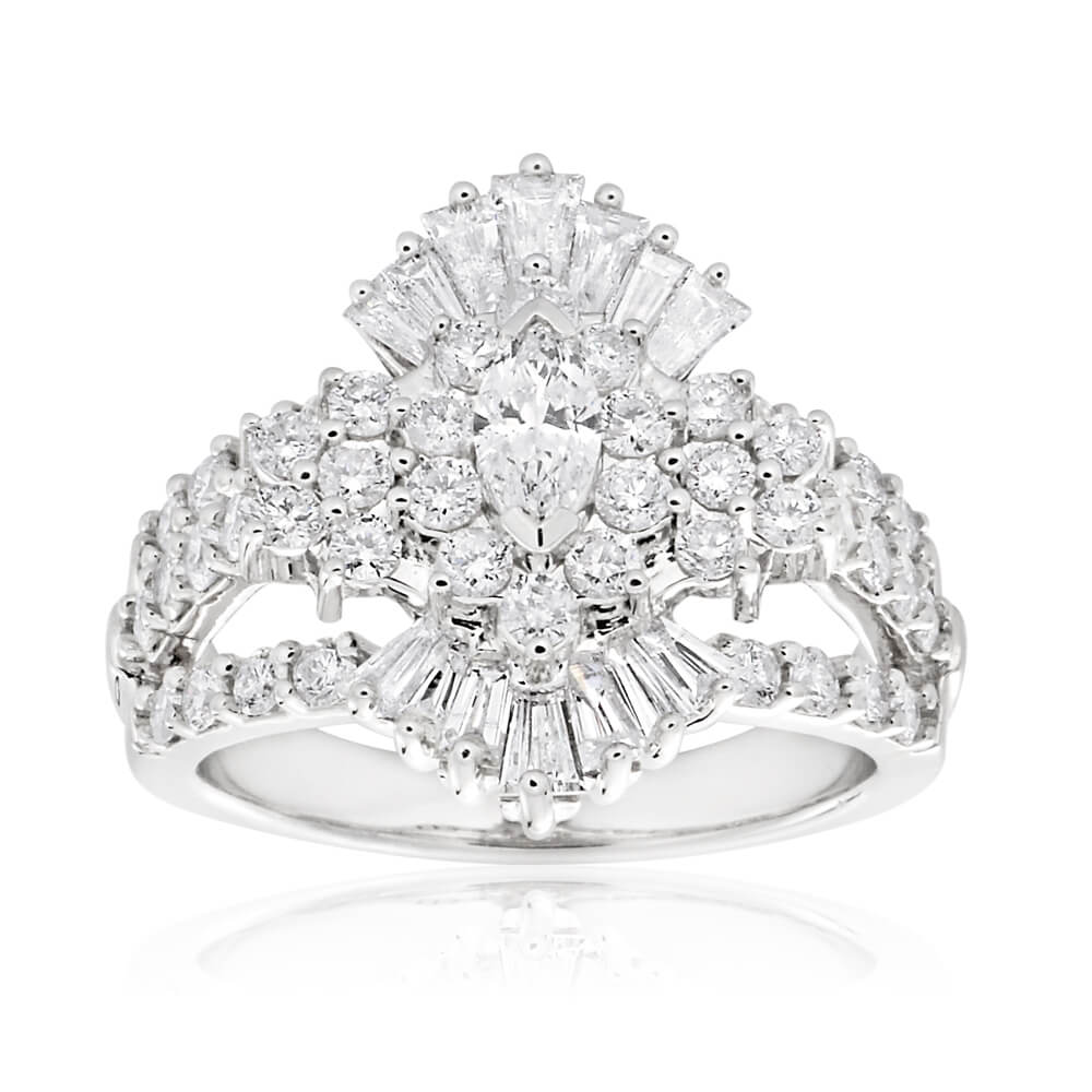 14ct White Gold Ring with 2.00 Carat of Diamonds with Marquise Centre Diamond