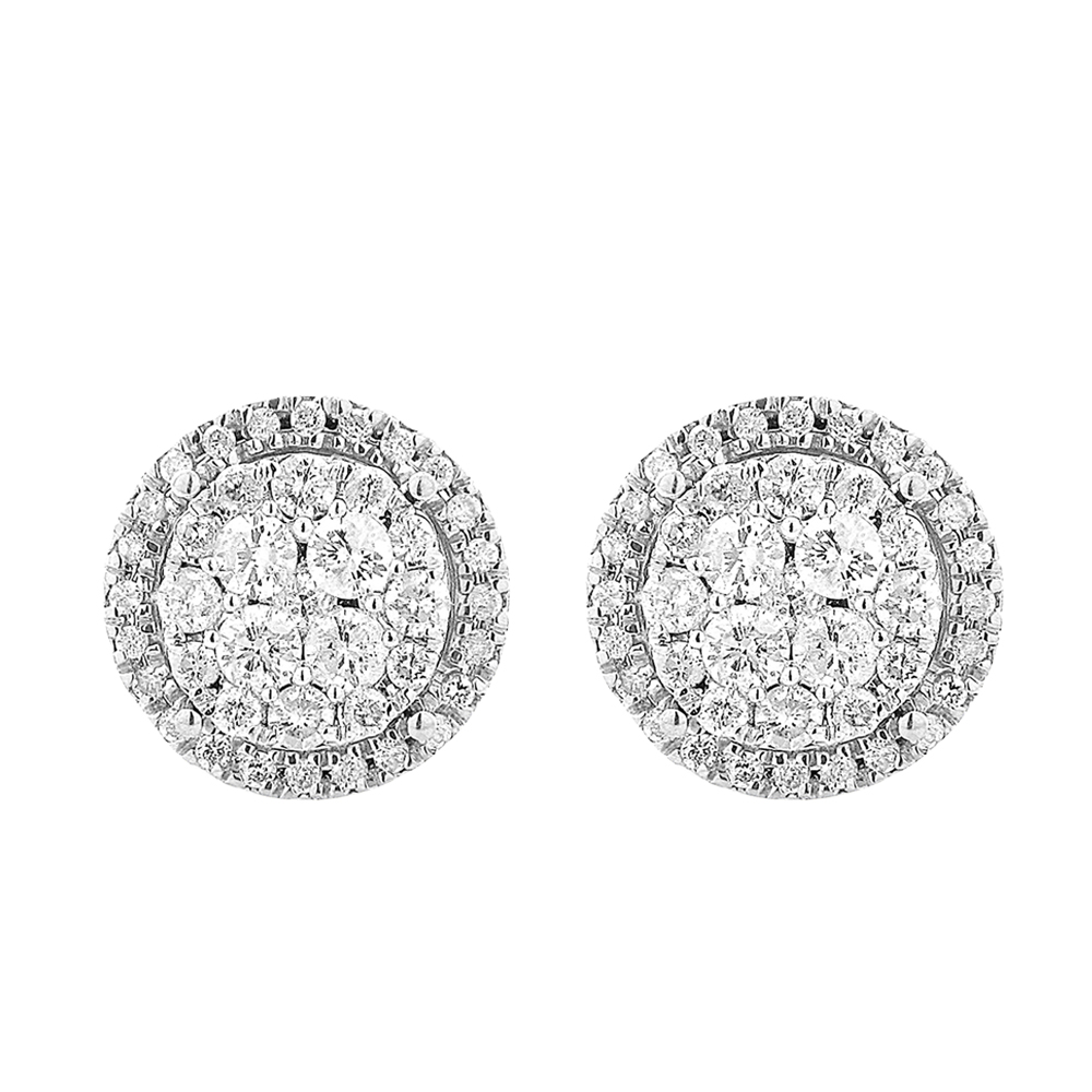9ct White Gold 1 Carat Diamond Stud Earrings