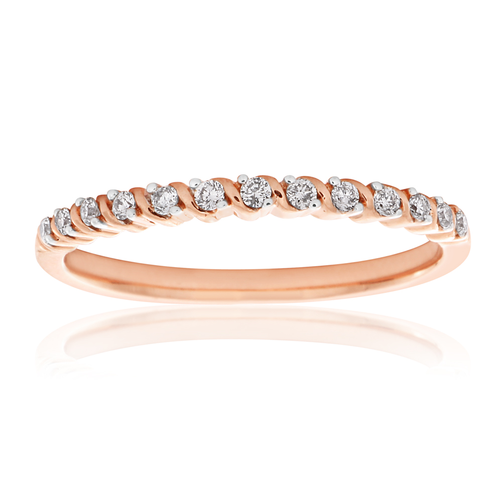 9ct Rose Gold Diamond Ring with 13 Brilliant Cut Diamonds and Rhodium Plated Claws