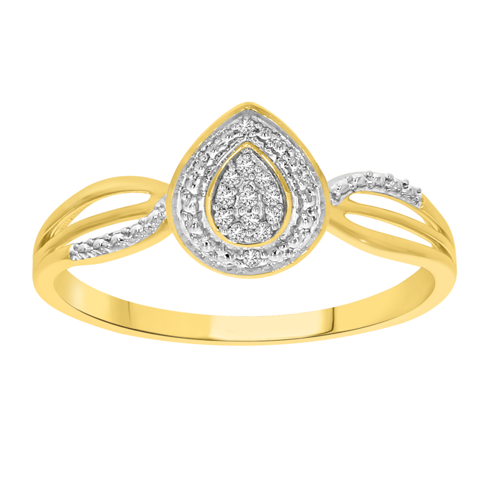 9ct Yellow Gold Pear Shaped Ring with 13 Diamonds