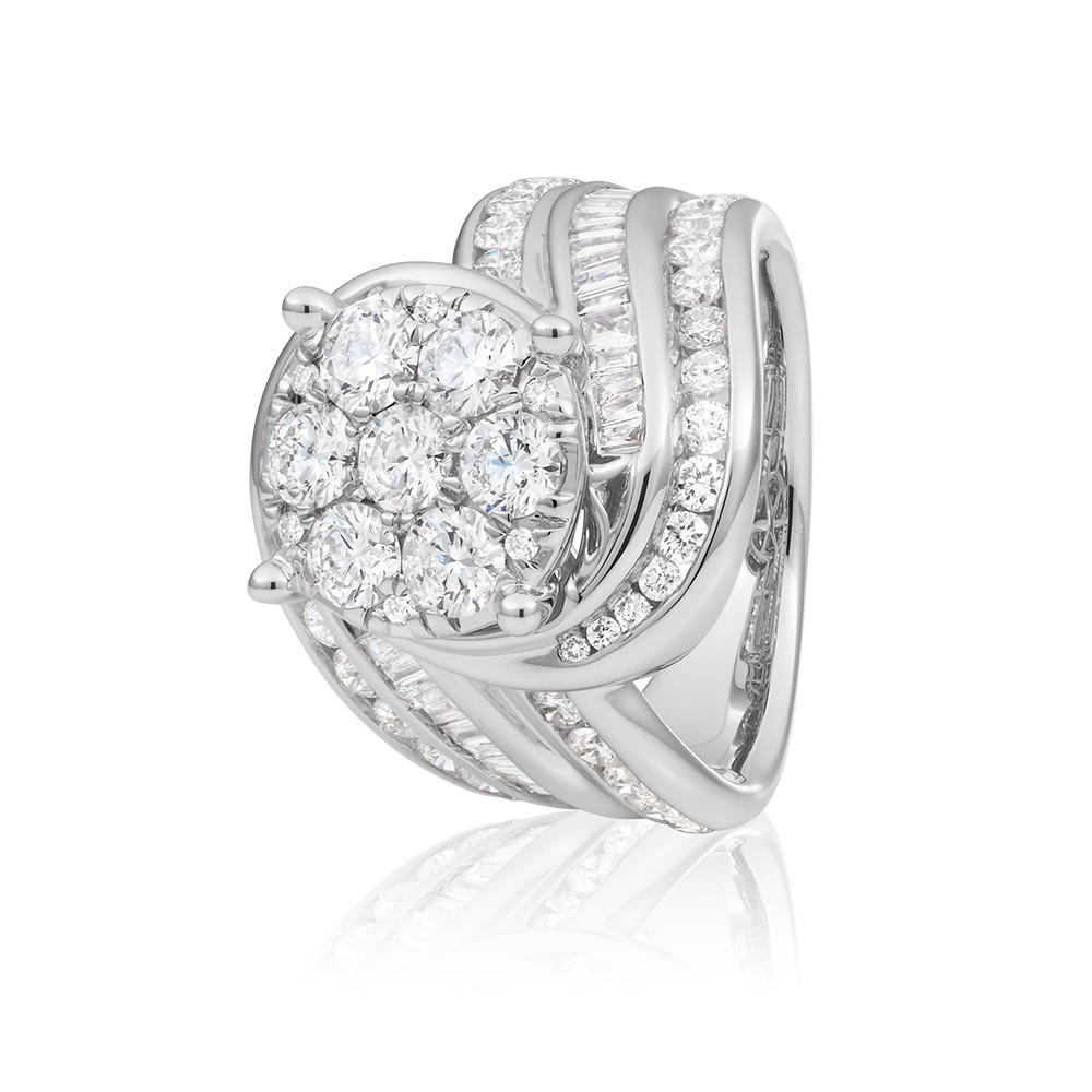 14ct White Gold Ring Set With 3 Carats Of Round And Baguette White Diamonds
