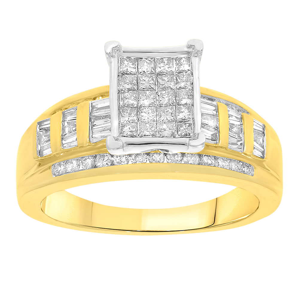 9ct Yellow Gold 1.00 Carat Ring Set With Princess, Round And Tapered Diamonds