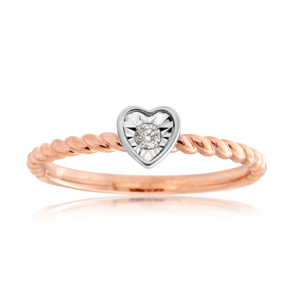 9ct Rose Gold Diamond Heart Disc Stackable Ring