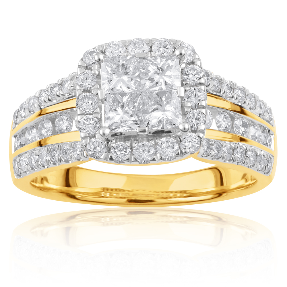 SEAMLESS LOVE  9ct Yellow Gold Dress Ring with 2.00 Carat of Diamonds