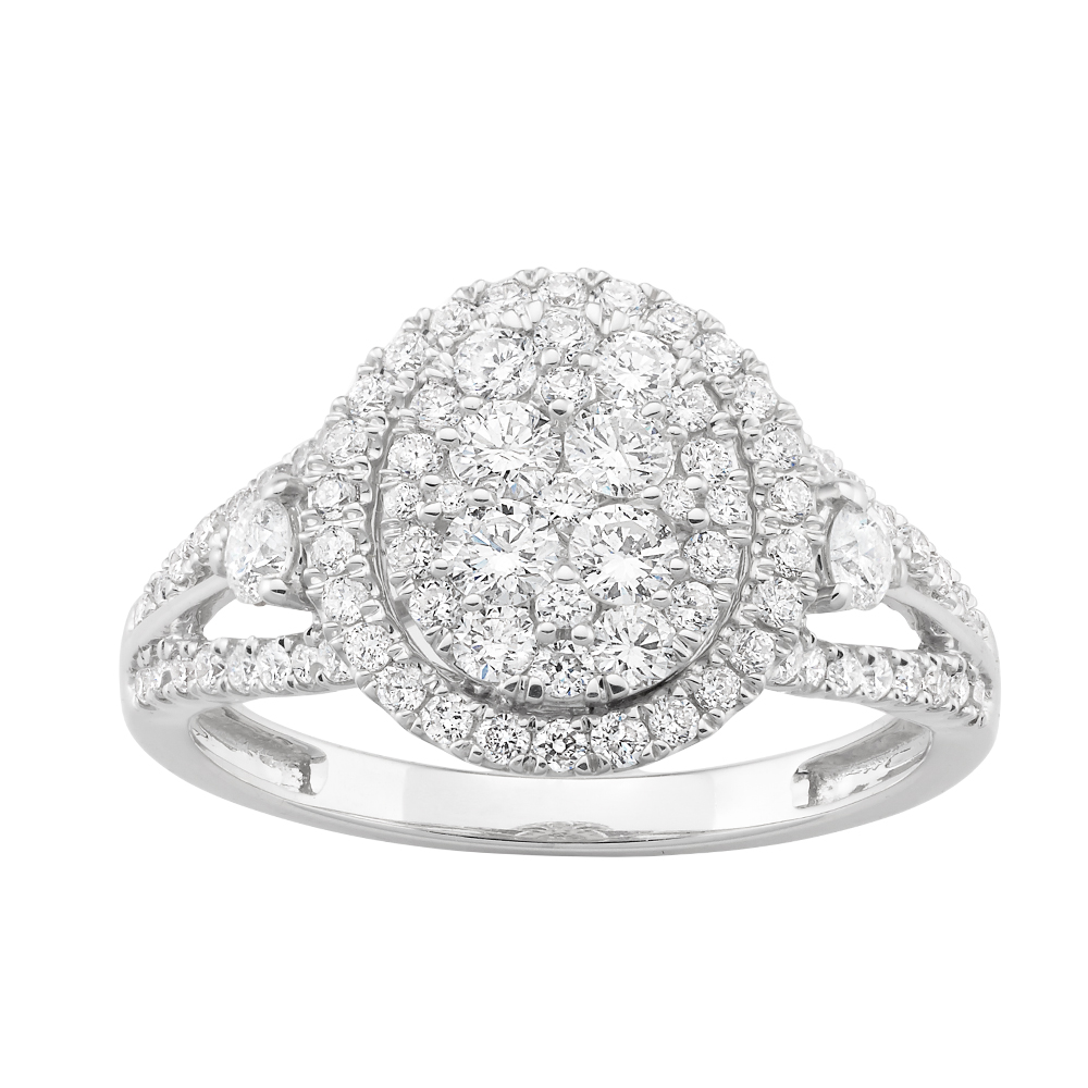 14ct White Gold 1.50 Carat Diamond Ring with Split Shank and Side Diamond Detail
