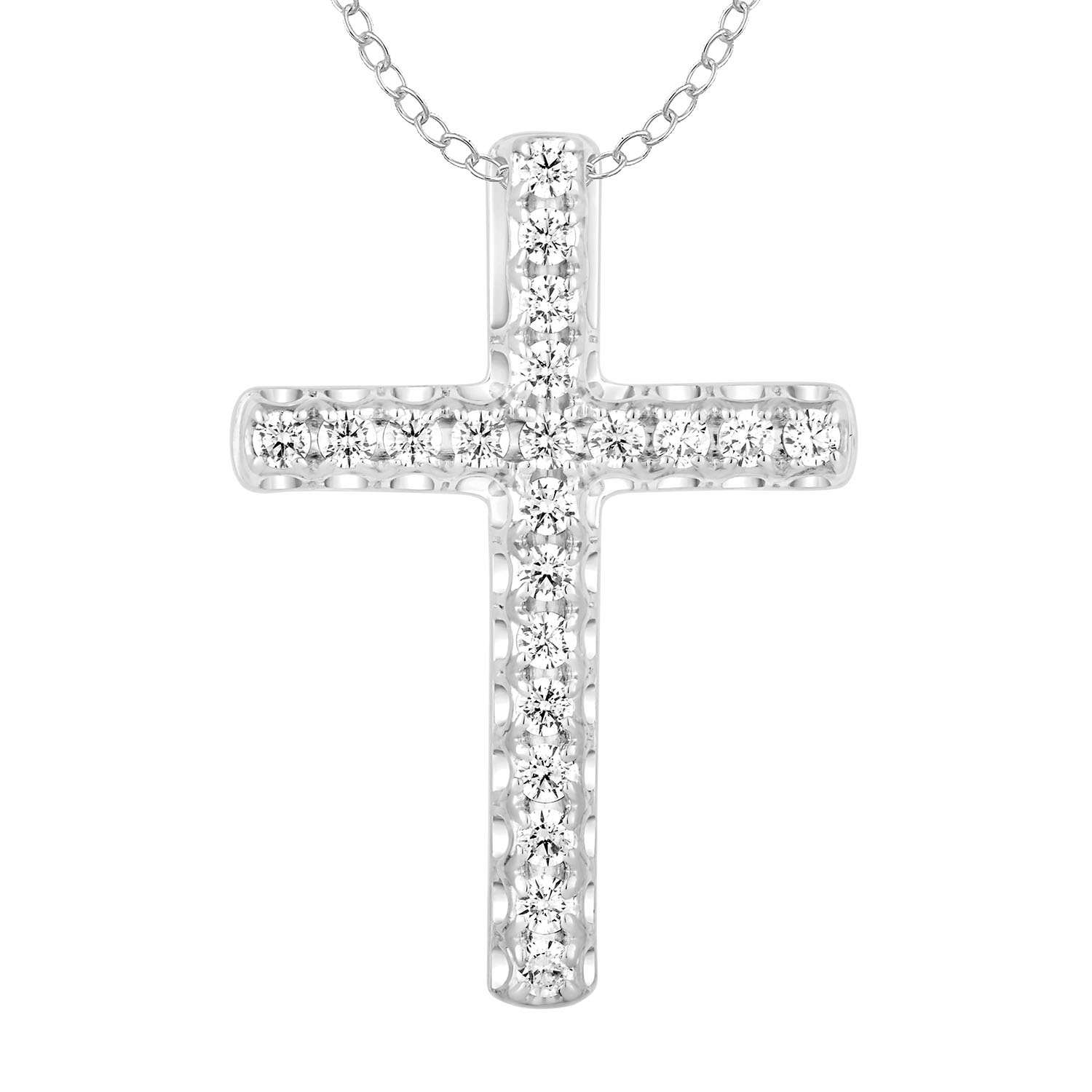 9ct White Gold Cross Pendant with 1/4 Carat of Diamonds including Chain