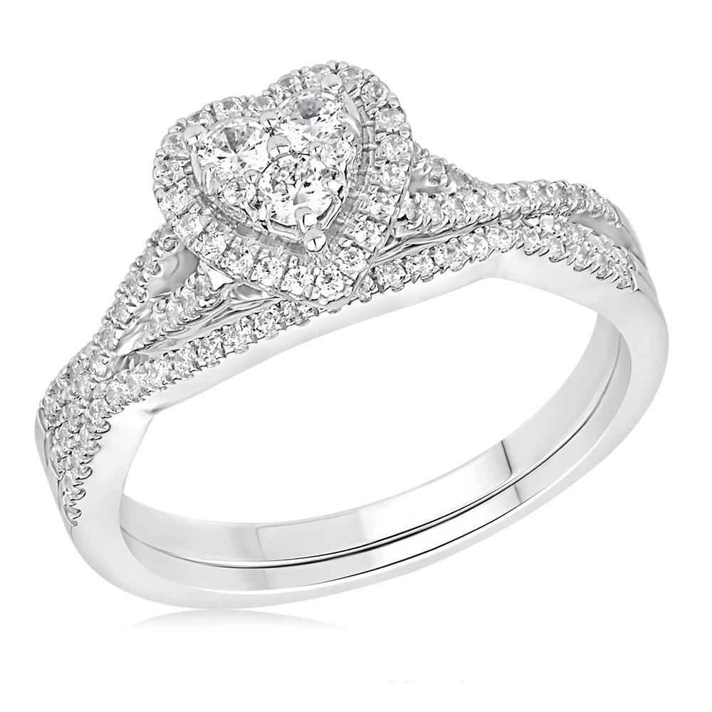9ct White Gold 1/2 Carat Diamond Heart Shape 2-Ring Bridal set