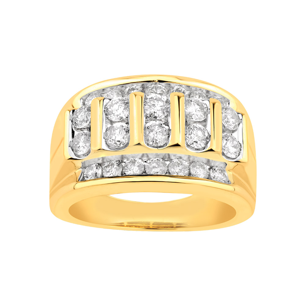 9ct Yellow Gold Gents Ring with 2.00 Carat of Diamonds